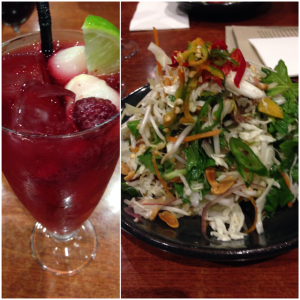 Beef Salad and Mocktail